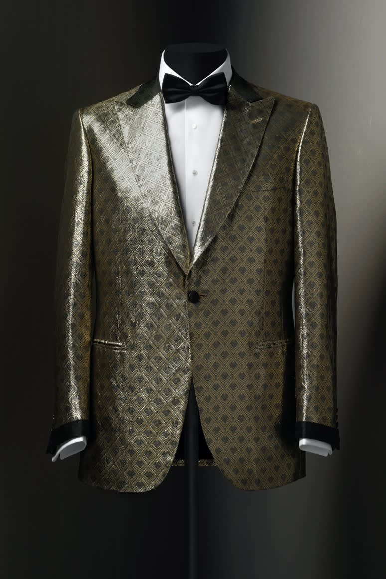 A Brioni dinner jacket in silk and gold lamé, 2000s