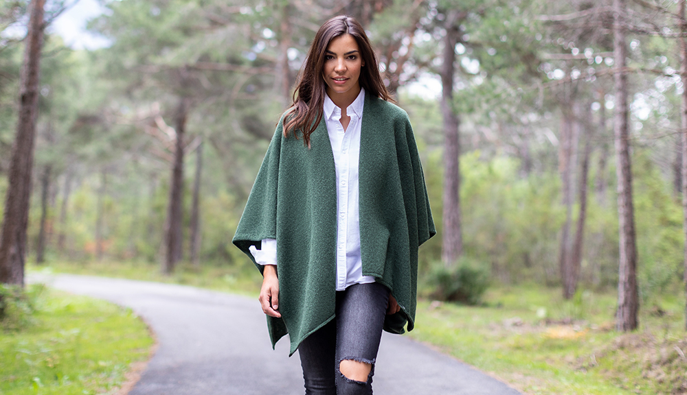 Cape made of sustainable wool