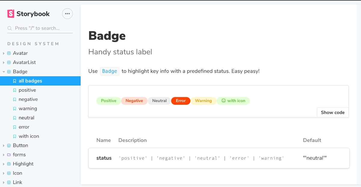 Storybook showcasing a badge component