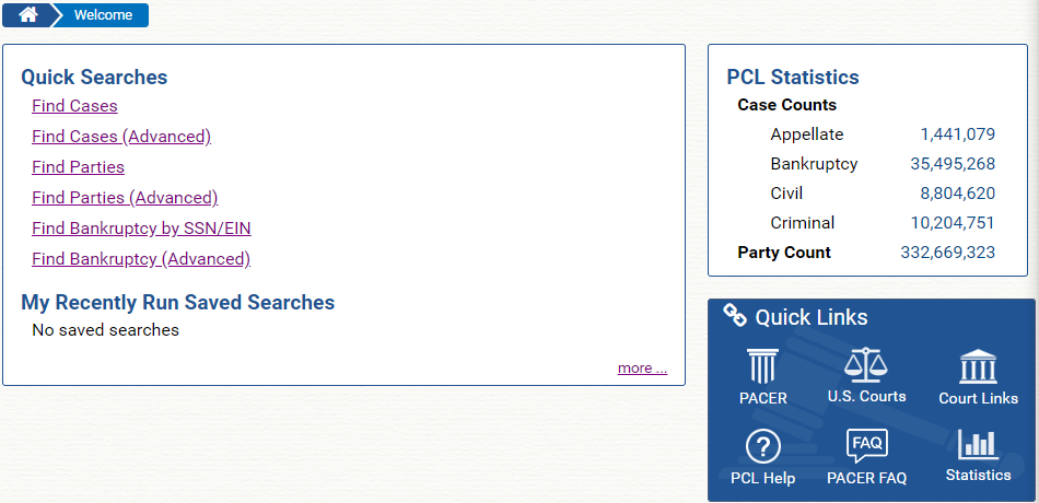 Figure 4. PACER Case Locator Home Page