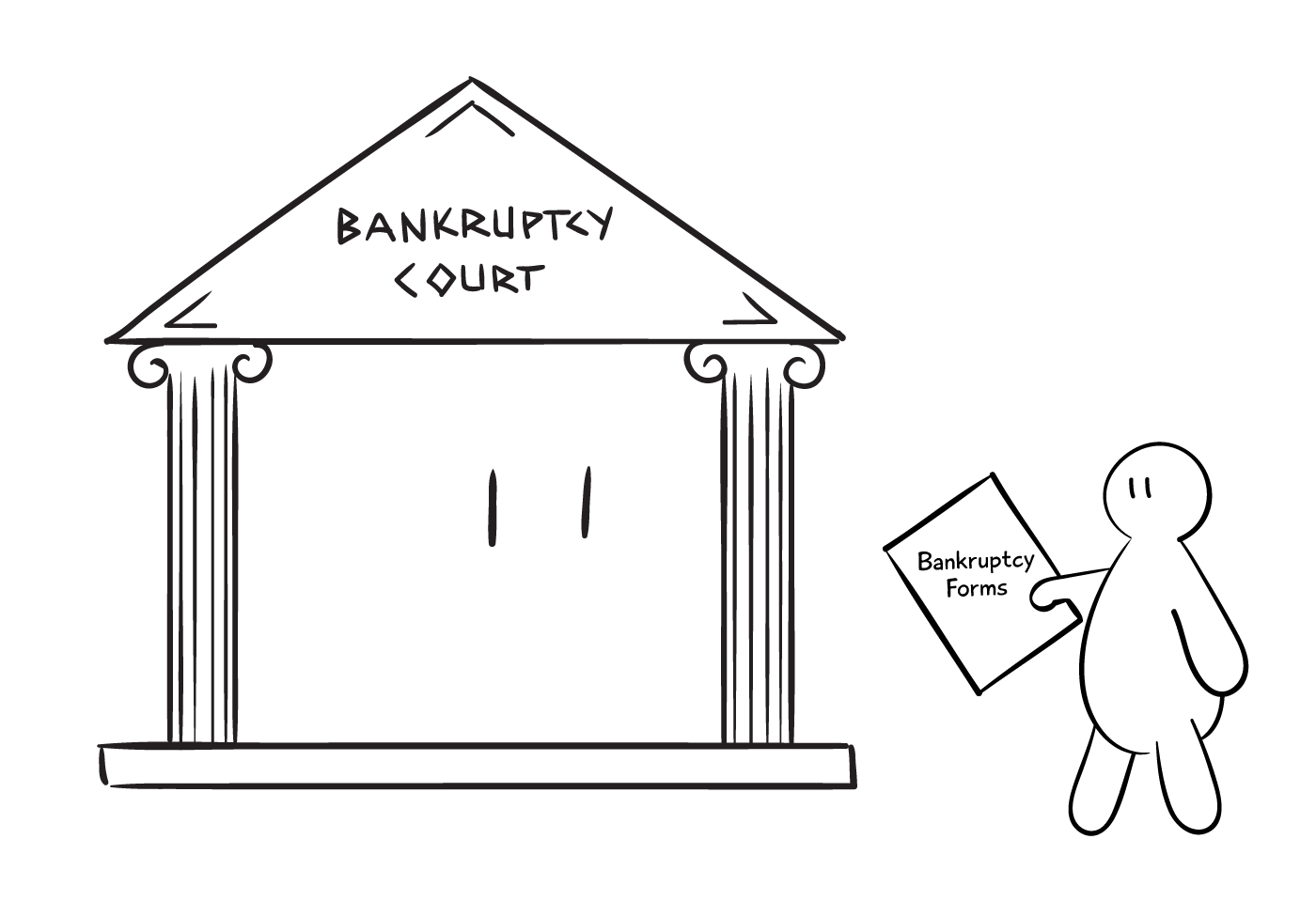 Person bringing forms to bankruptcy court