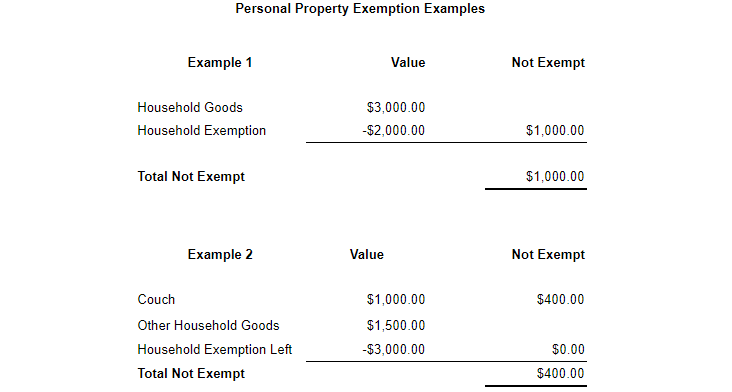 Personal Property Exemption Examples