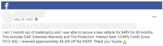 Facebook post from Upsolve User Group about car person was able to purchase after filing bankruptcy