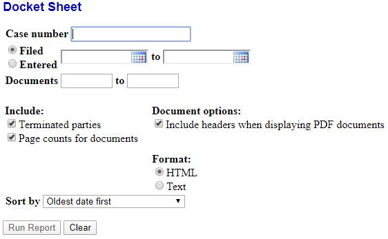 Figure 8. Docket Report Options