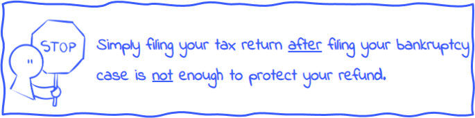 """Person with stop sign and statement: """"Simply filing your tax return after filing your bankruptcy case is not enough to protect your tax refund."""""""