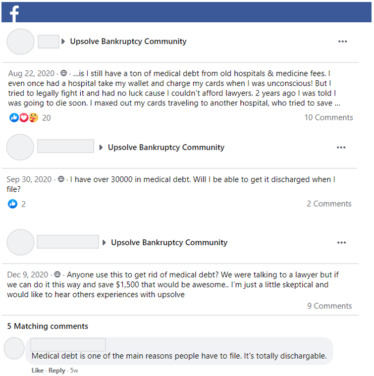 Sample questions about medical debts from Upsolve's Facebook Community