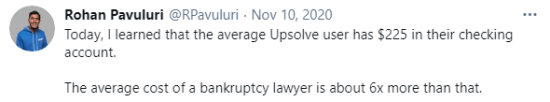 Tweet by Rohan Pavuluri that the average Upsolver user has $225 in their bank account.