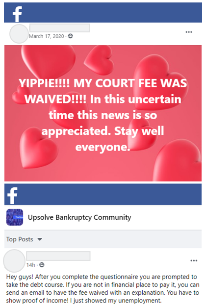 Posts on Facebook from 2 Upsolve users sharing that their court filing fee and credit counseling fee was waived.