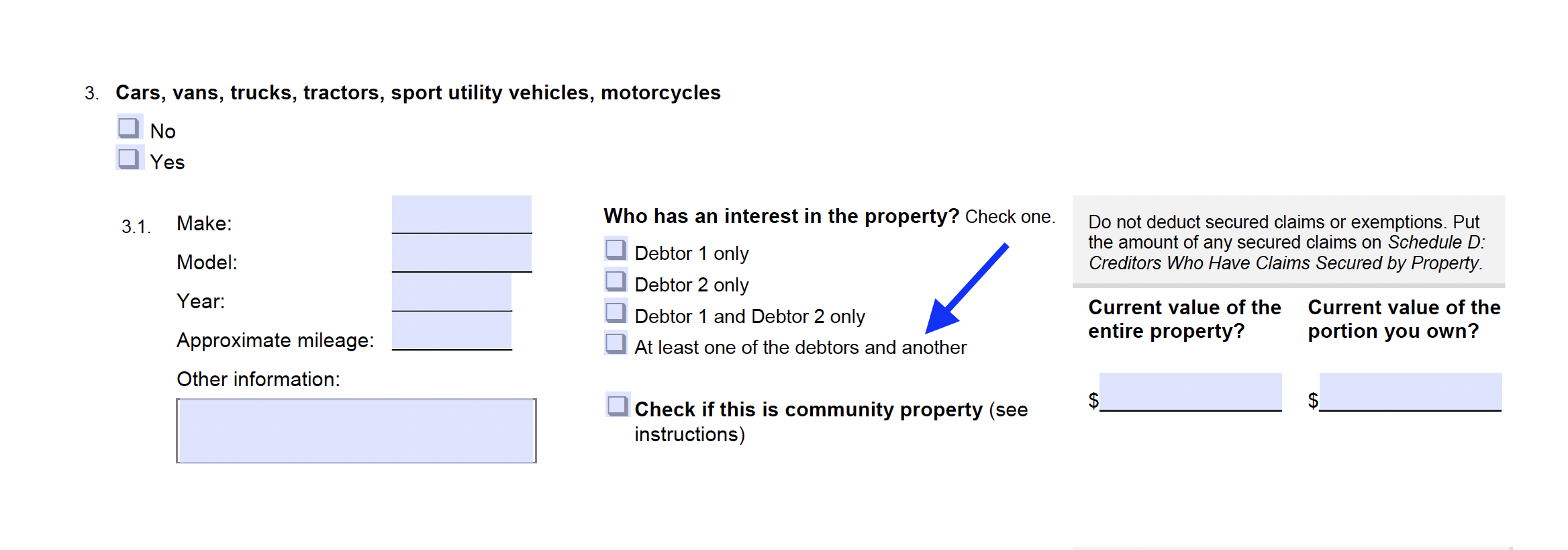 How to disclose the existence of a co-owner for a vehicle