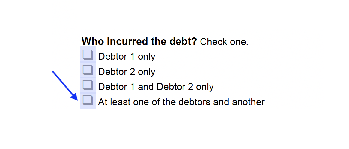 """Check the box next to """"At least one of the debtors and another"""""""