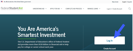 StudentAid.Gov Homepage with Arrow pointing to login button