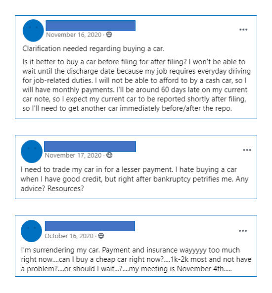 3 Facebook posts from Upsolve's User Group asking questions about purchasing a car after bankruptcy