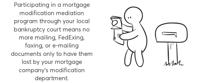 """Person at mailbox: """"Participating in a mortgage modification mediation program through your local bankruptcy court means no more mailing, FedExing, faxing, or e-mailing documents only to have them lost by your mortgage company's modification department."""""""