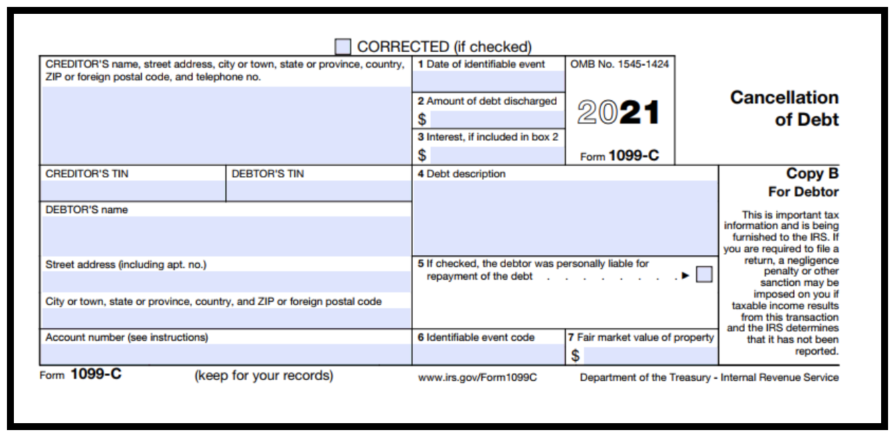 1099-C Form used for debt forgiveness