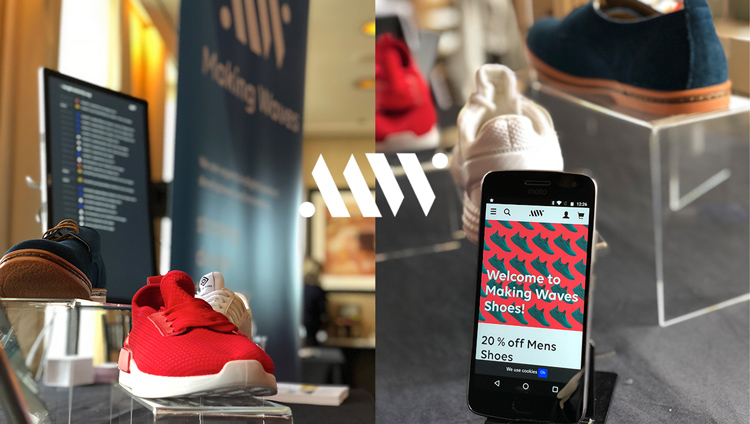 Overview of the shoe store displaying the shopping experience Making Waves created with Episerver.