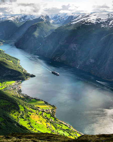 Scenic view of a Norwegian fjord.