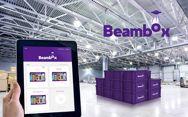 An iPad displaying the content of purple Beambox containers stacked inside a storage space.