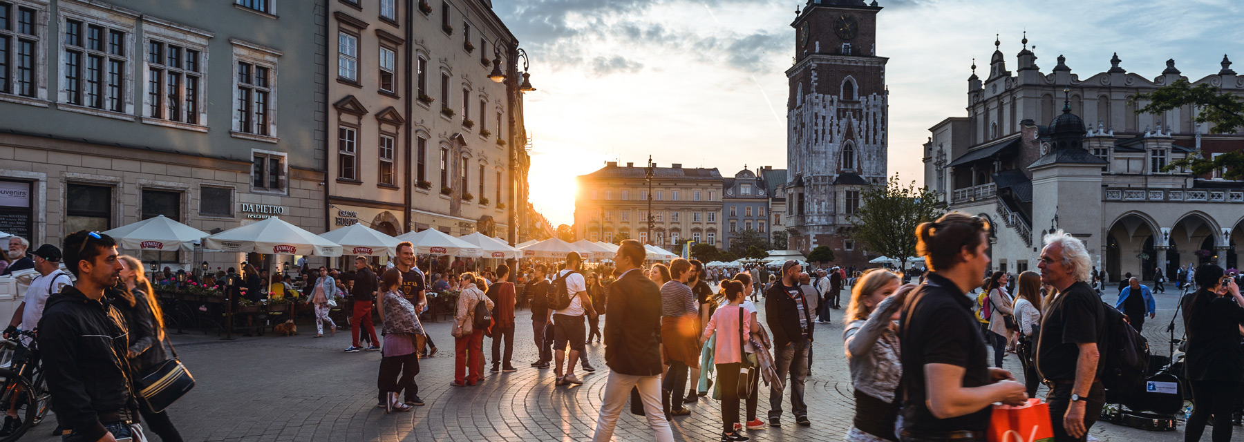 Photo of people in Kraków city centre.
