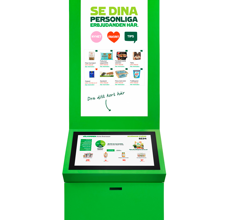 An illustration of the membership kiosk deployed in Coop stores.