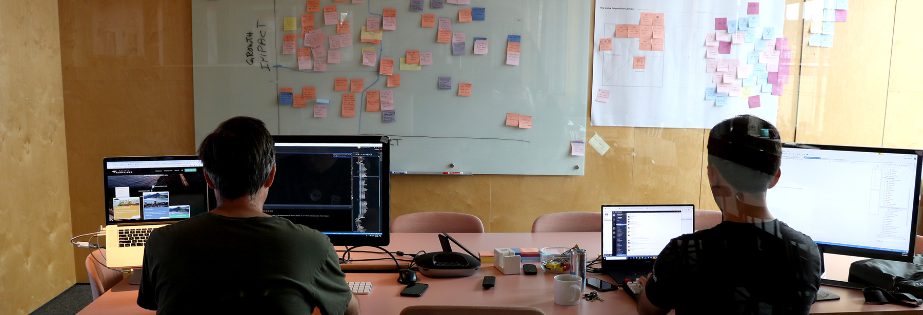 Two developers working in a conference room with post-it notes on the wall.