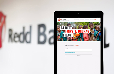 An iPad displaying the solution developed for Save the Children.