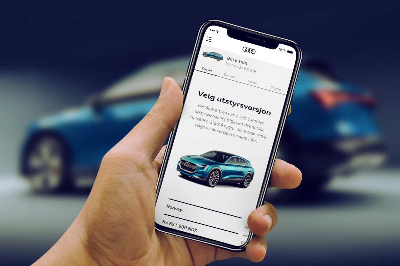 The finished Audi app accessed on an iPhone, with the Audi e-tron in the background.