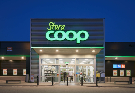 The shop front of a Coop store in Sweden.