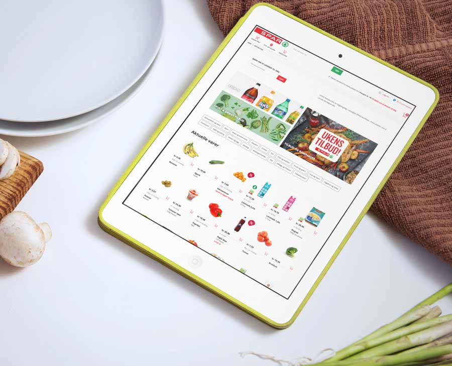 An iPad displaying the Spar webshop, built on the digital service platform.