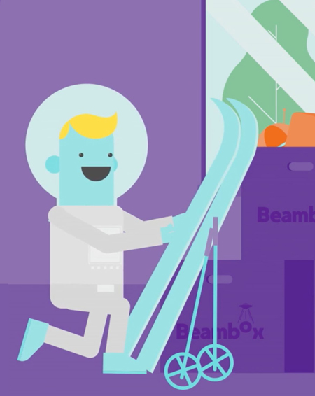 Illustration of a happy, blue person packing their skis in a purple Beambox box.