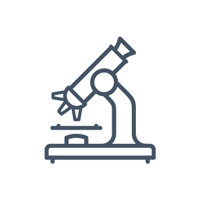 Illustrated icon of a microscope