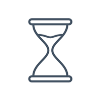 Illustrated icon of an hourglass