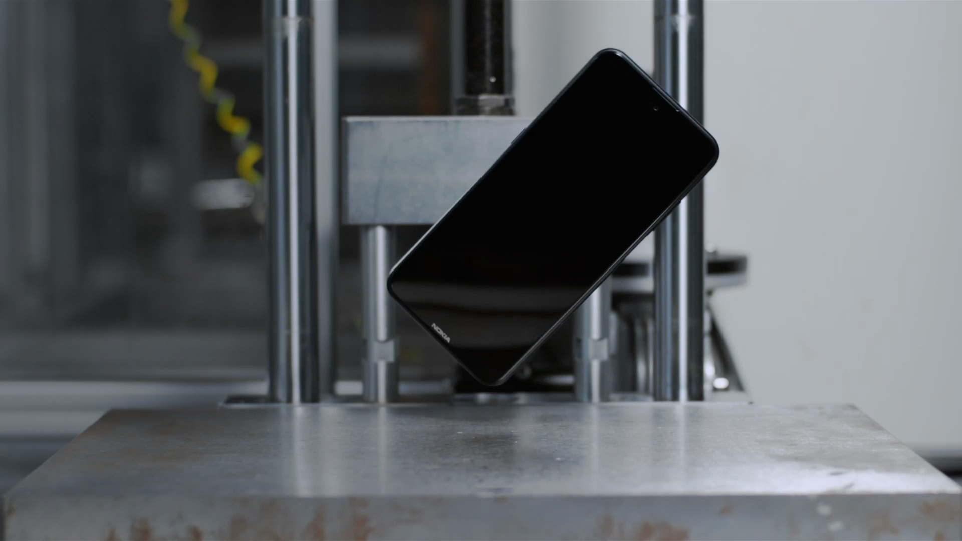 A Nokia smartphone in mid-drop during its vigorous product testing.