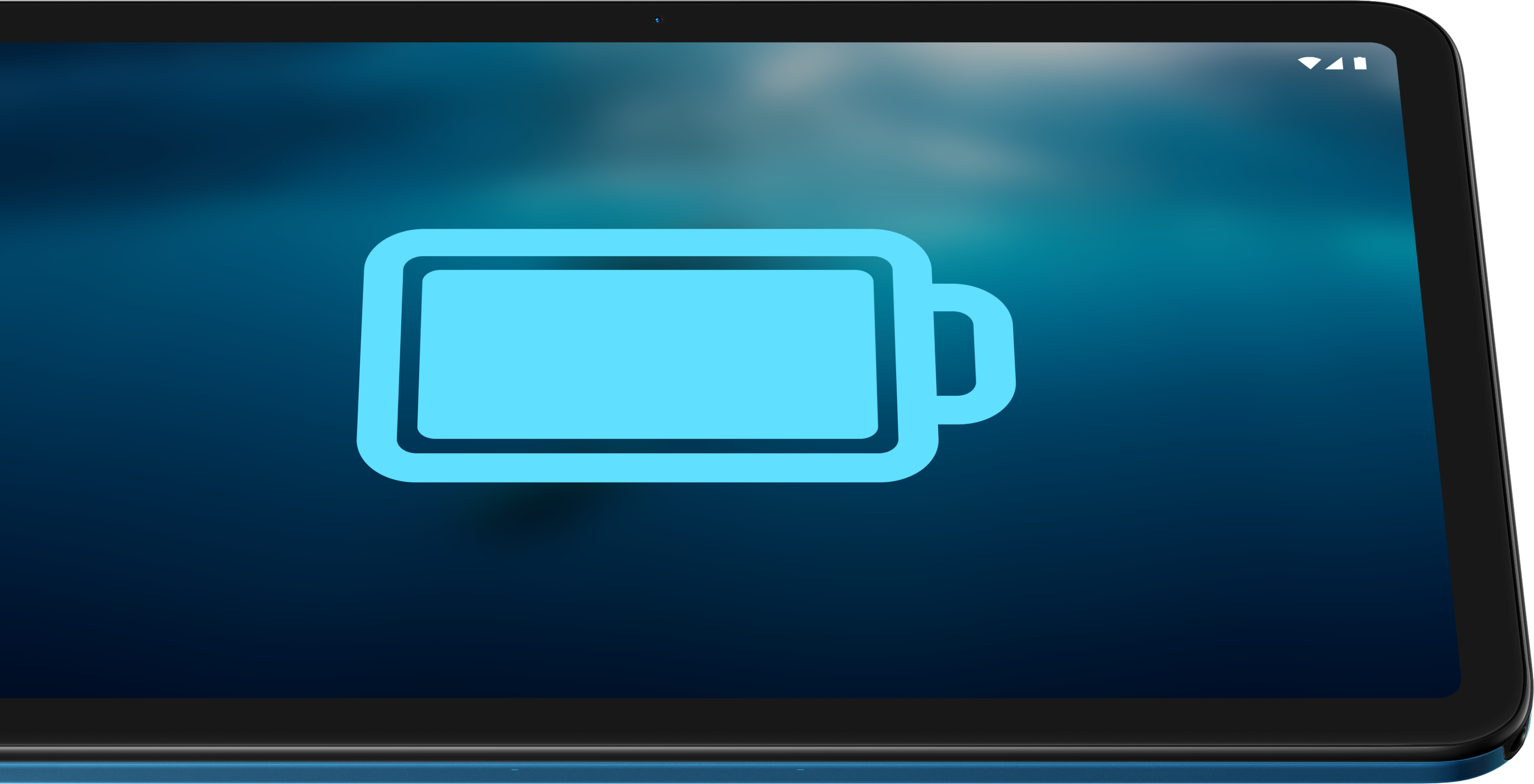 Fully charged batter icon displayed on the Nokia T20 tablet