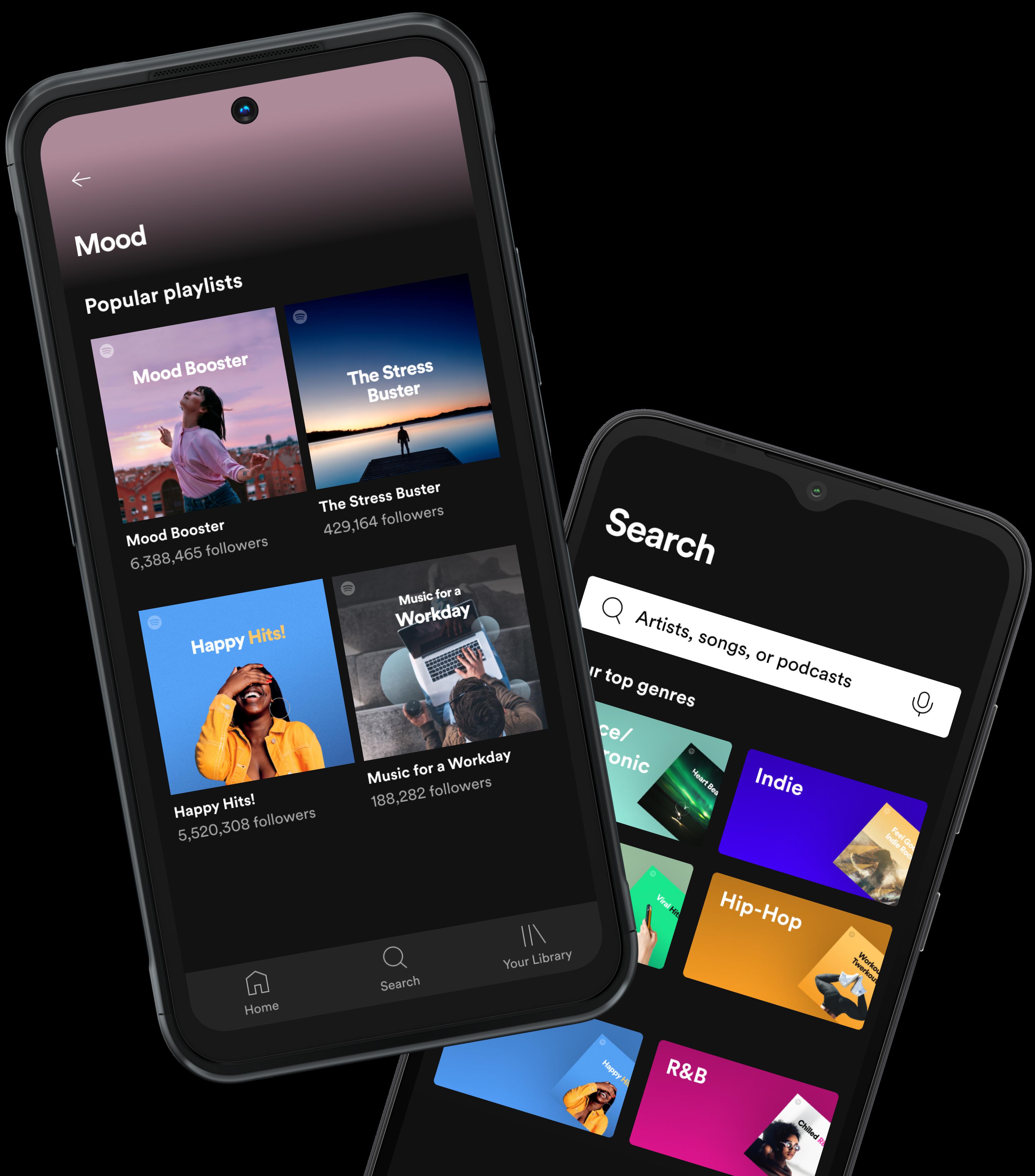 Deux smartphones Nokia en train de parcourir des chansons et des podcasts dans l'application Spotify.