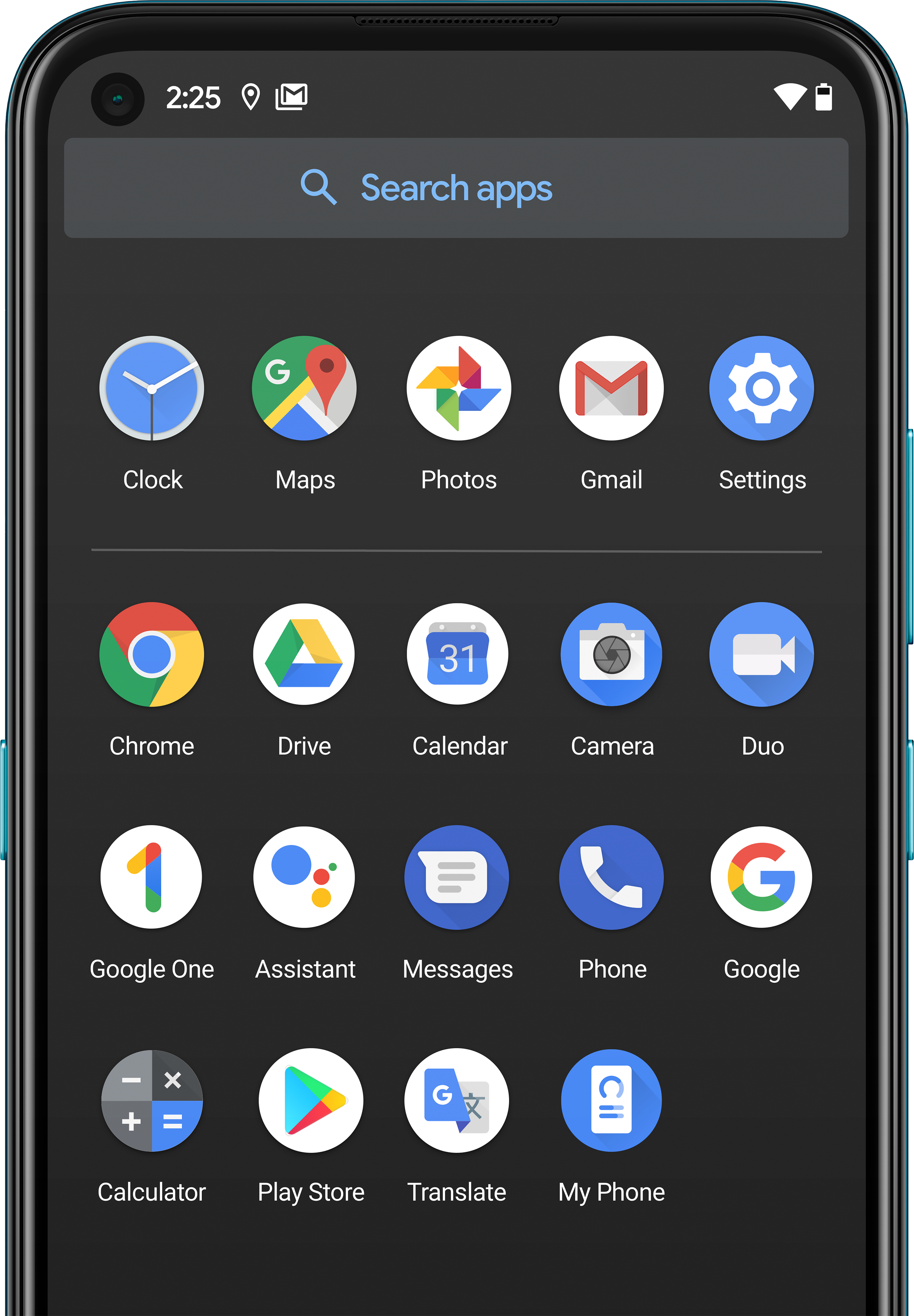 A Nokia smartphone displaying a range of Google apps.