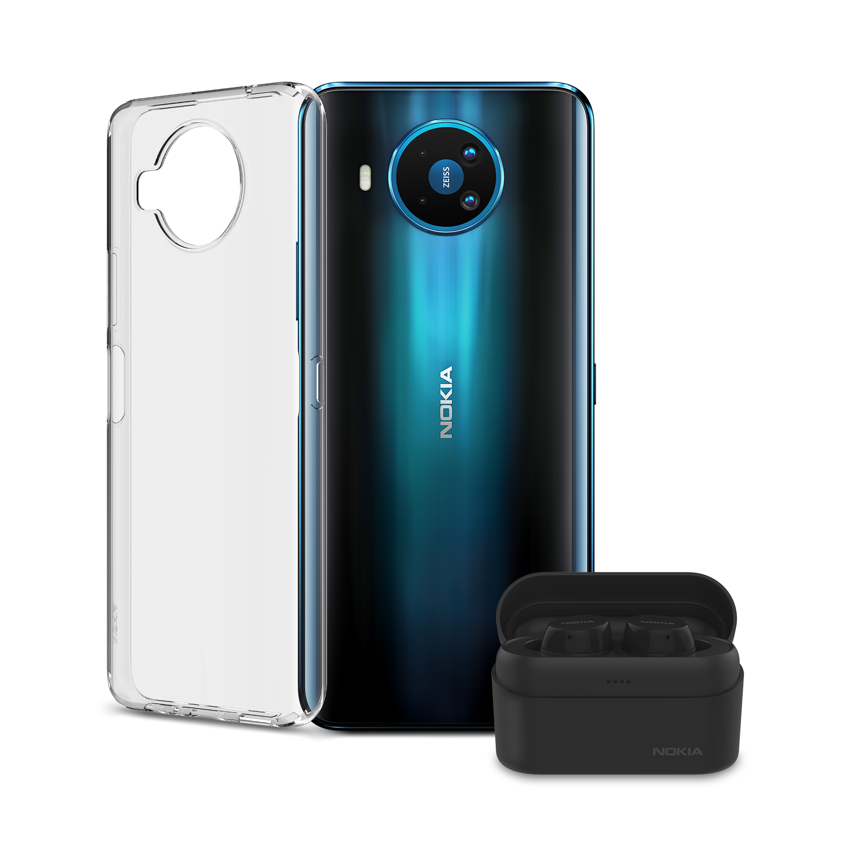 Clear Case and Nokia Power Earbuds bundle