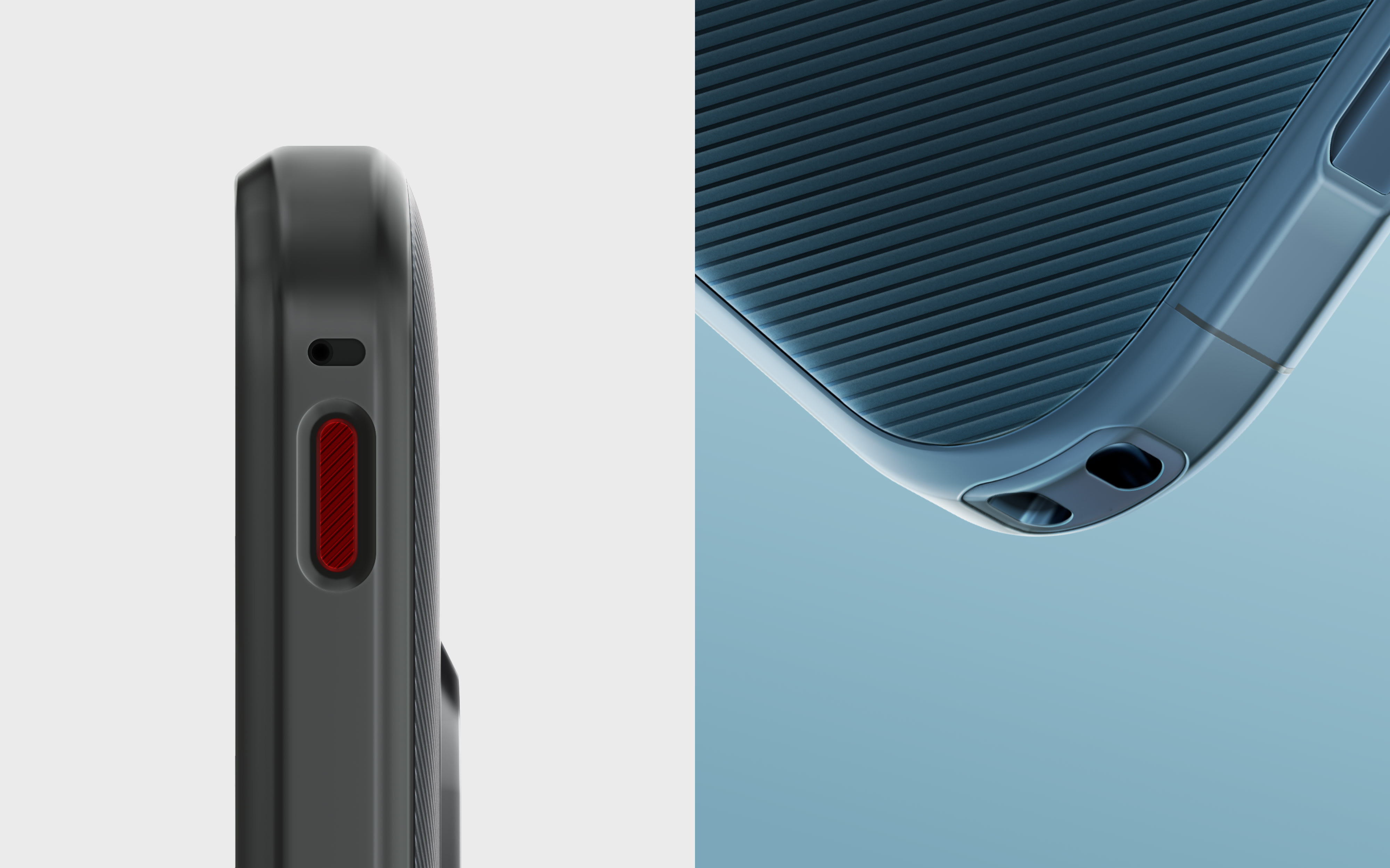 Two Nokia XR20 images side-by-side highlighting the programable button and accessory loop.