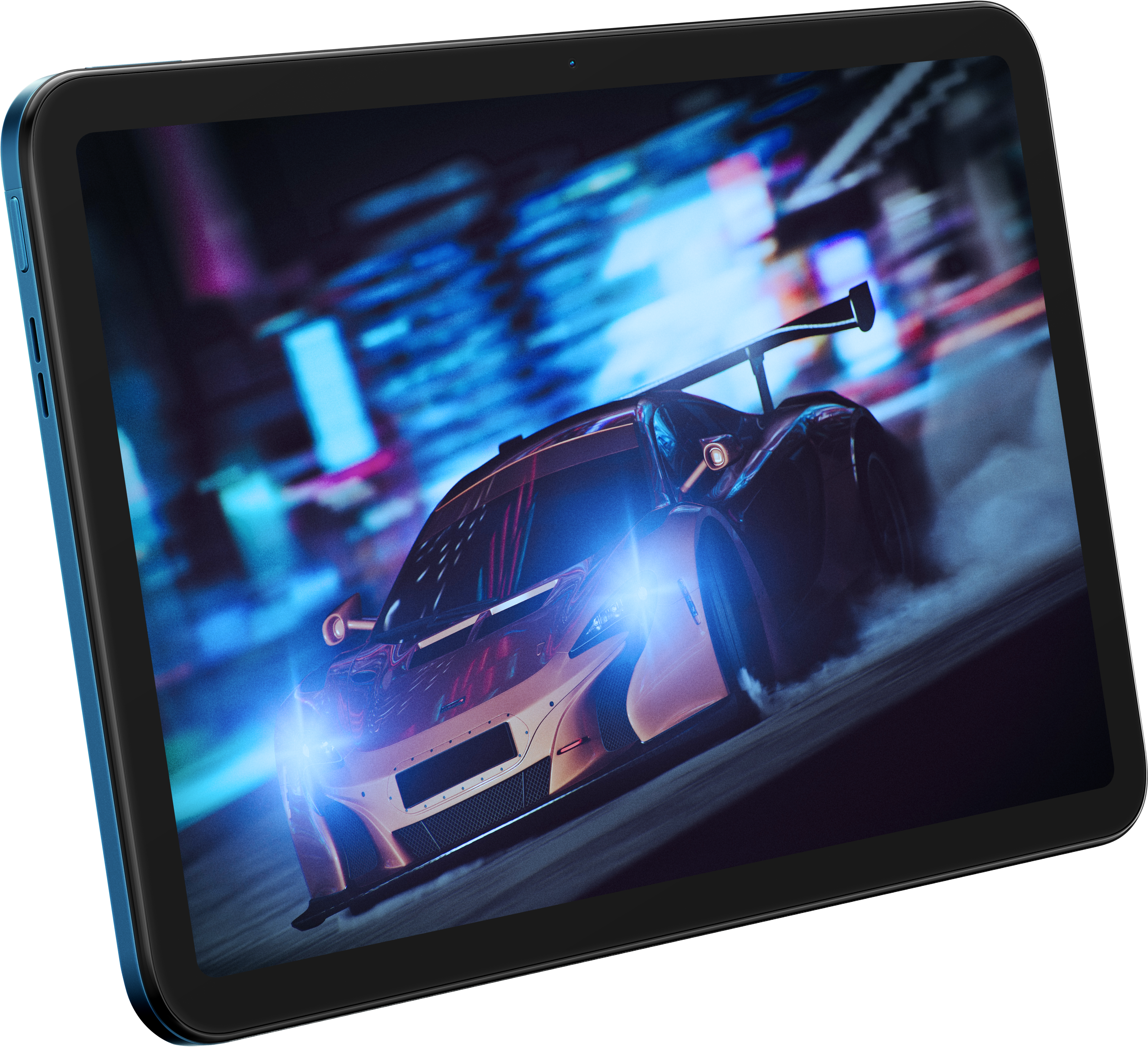 An image of a race car displayed on the Nokia T20 tablet
