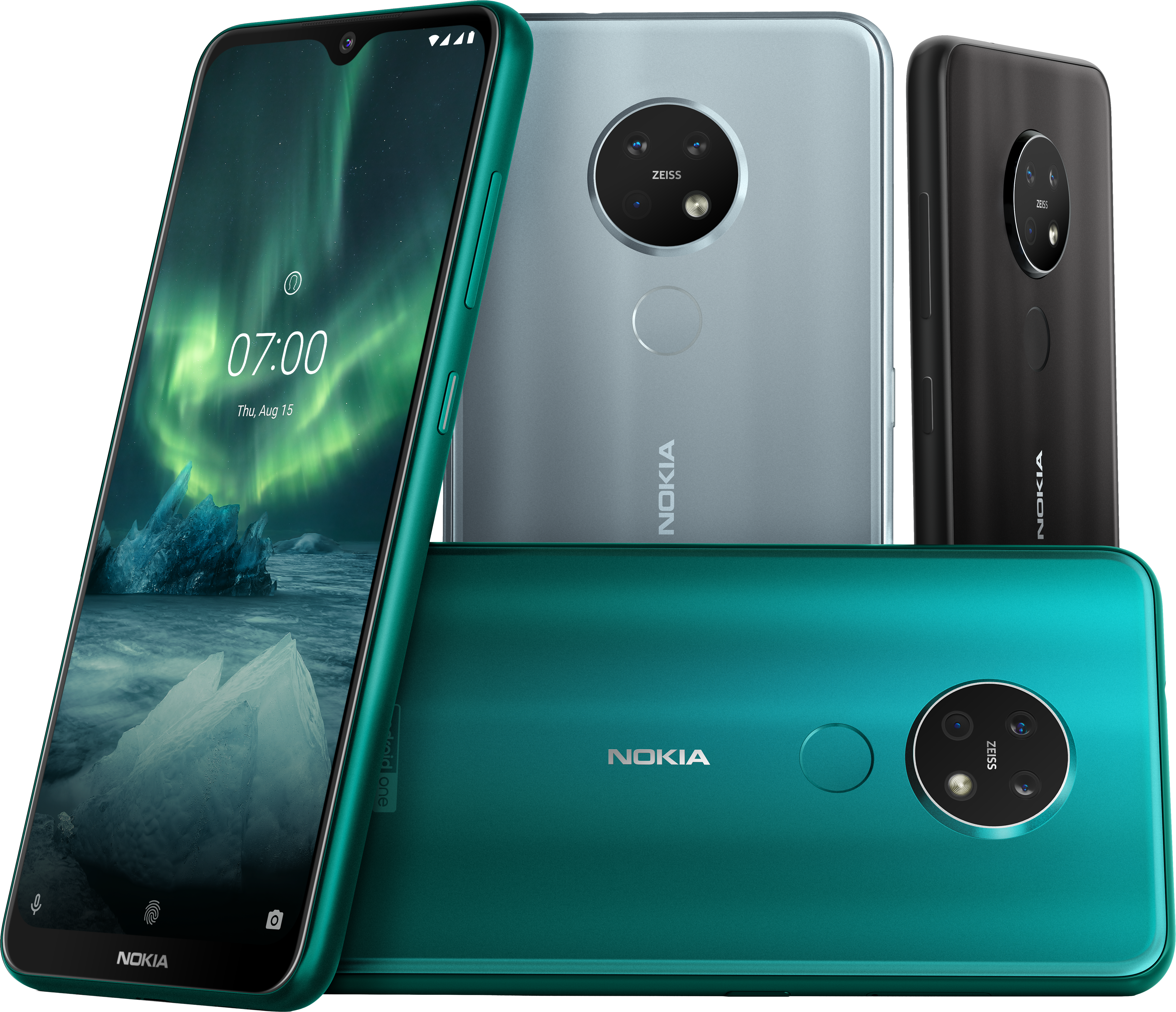 A collection of Nokia 7.2 smartphones in a range of colors.