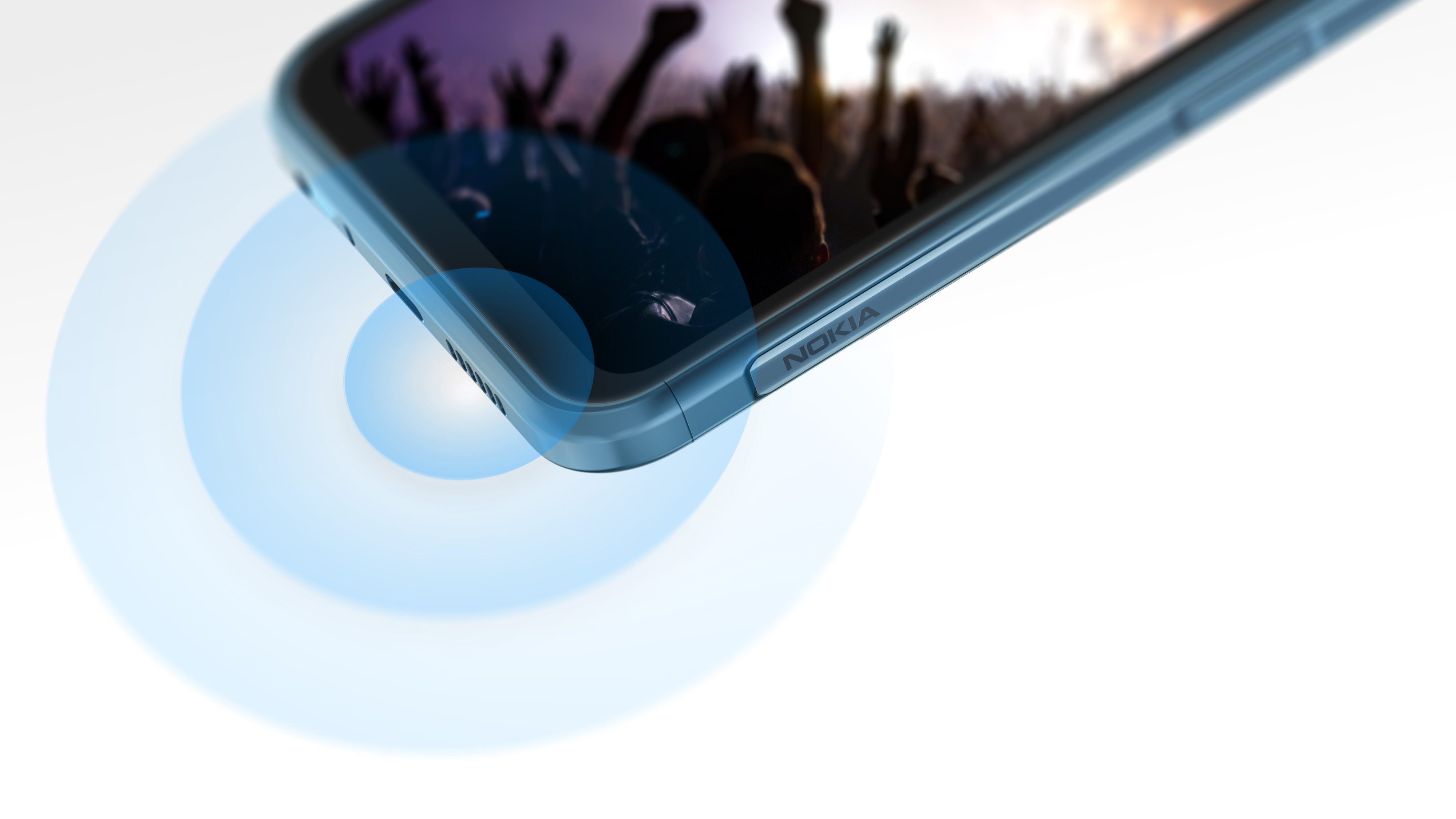 A Nokia XR20 playing a video of a concert with a visualization of audio from the stereo speakers.