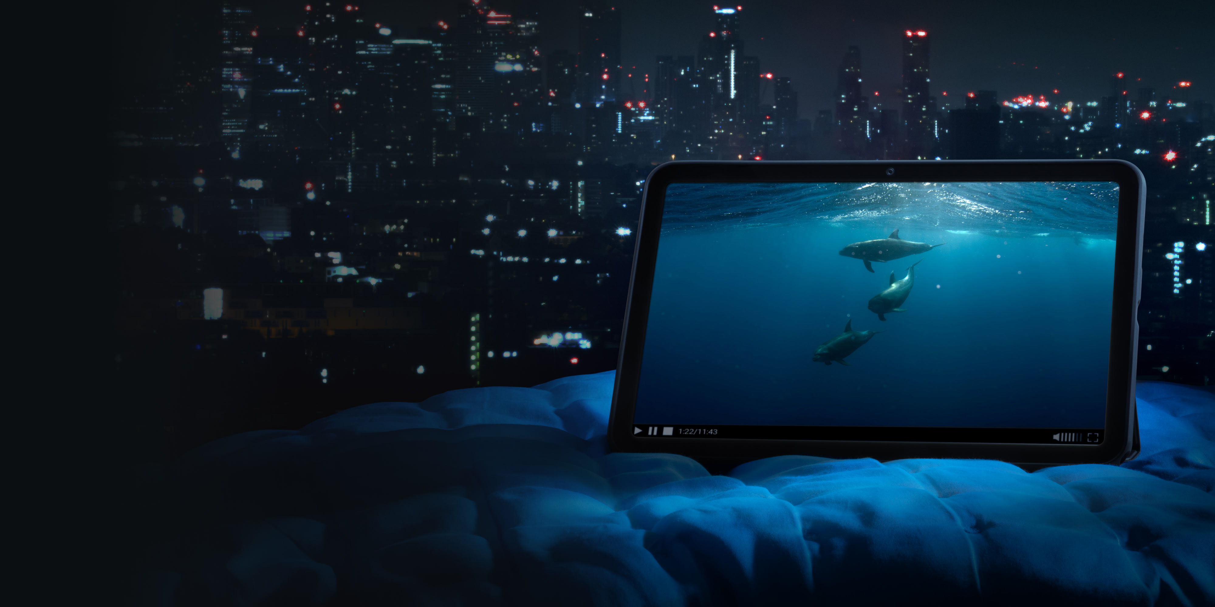 An image of dolphins displayed on the 2K display of the Nokia T20 tablet.