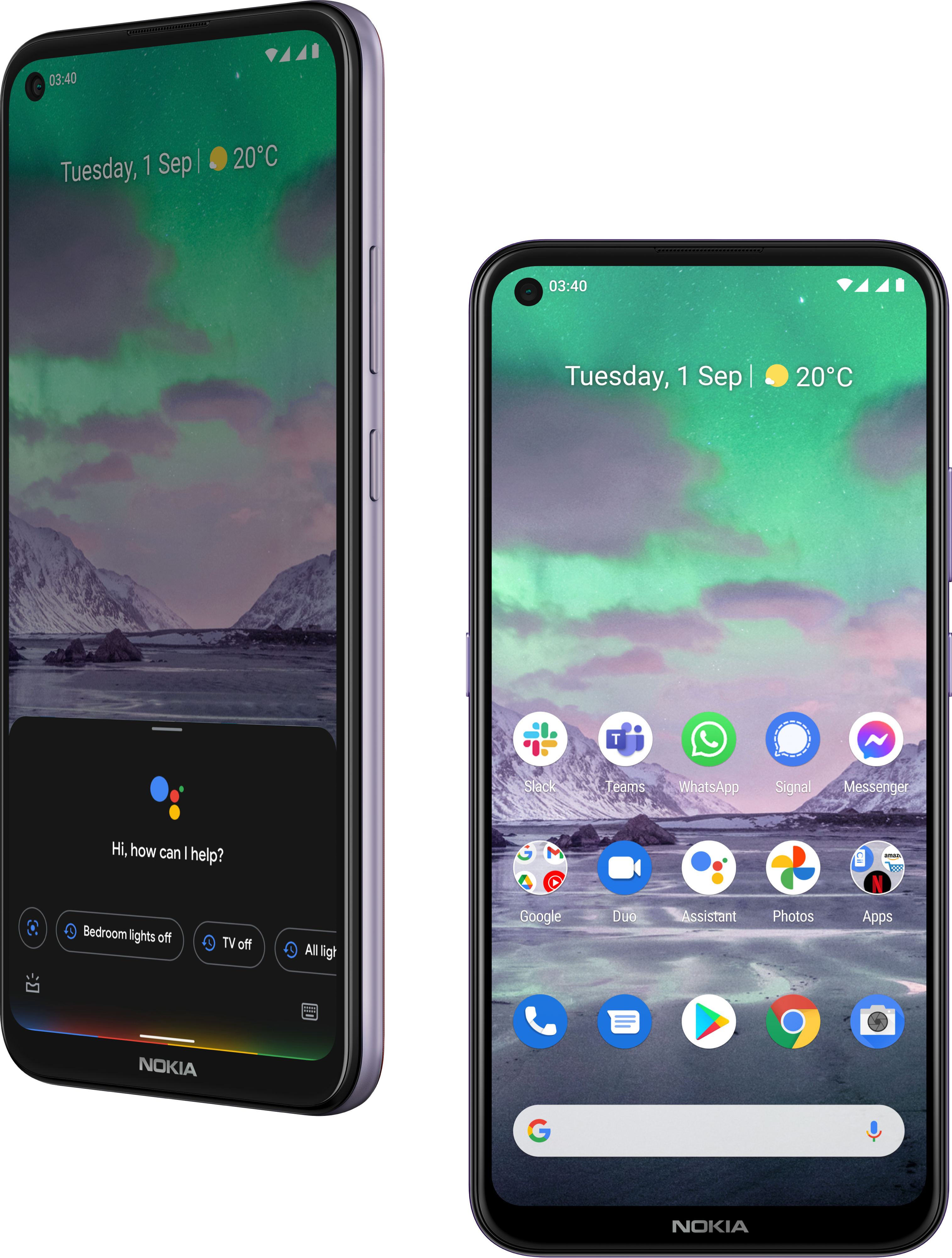 Two Nokia smartphones with Google apps and Google Assistant.