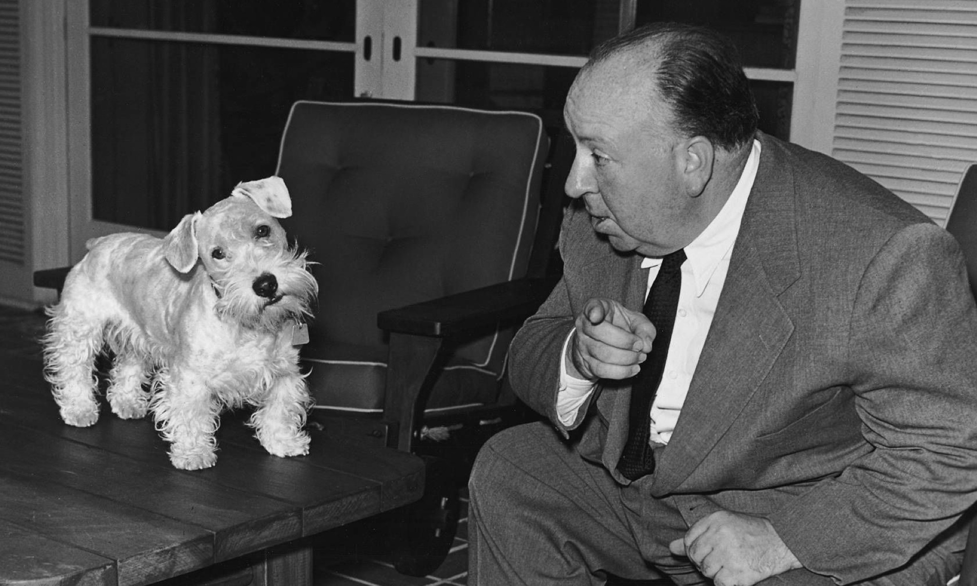 Alfred Hitchcock and his dog experience a small disagreement.