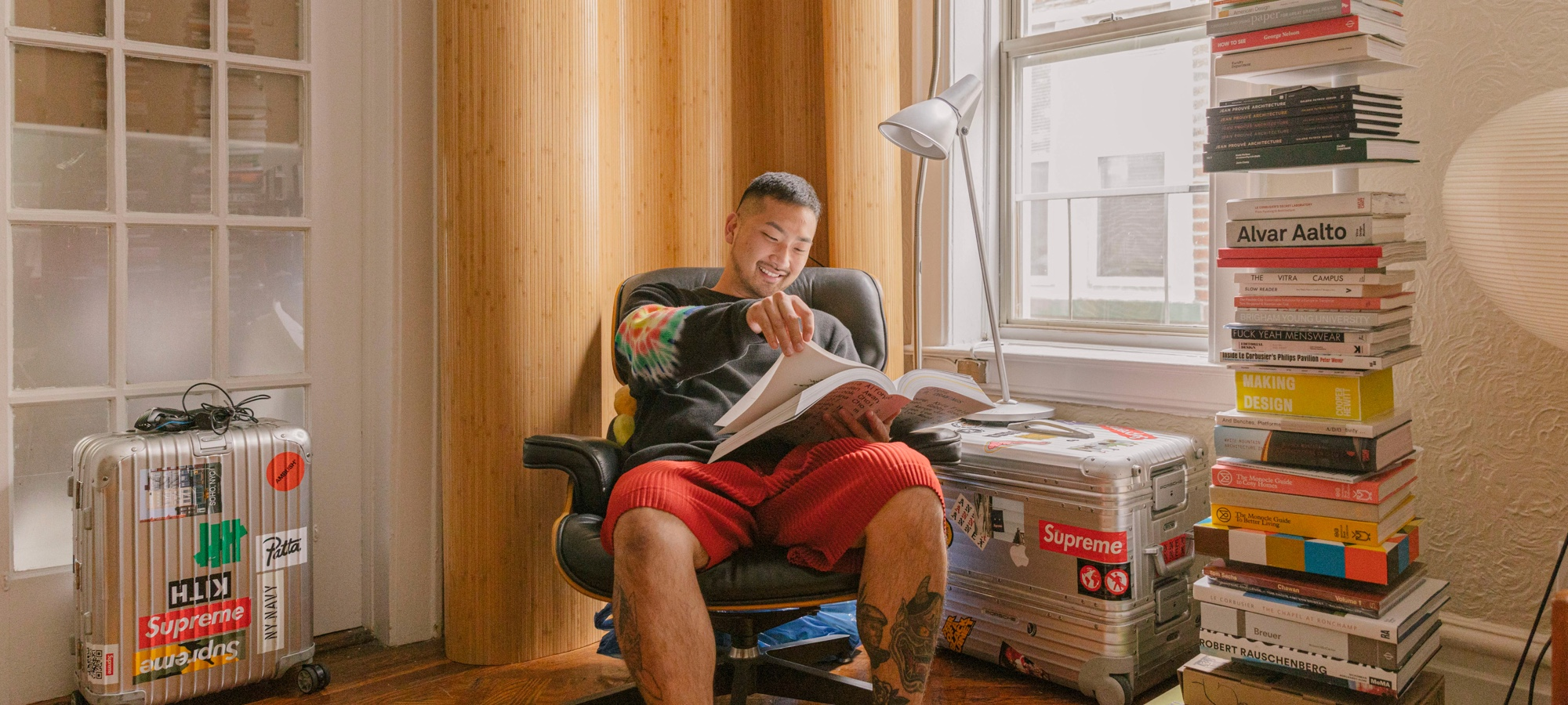 Justin Ryan Kim in his home in Queens.