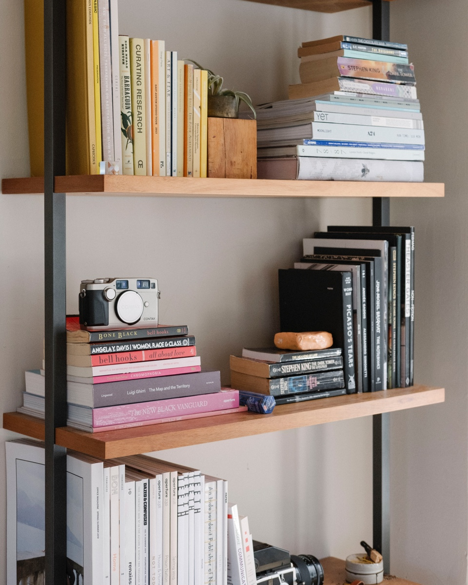 Even Kameron's storage space becomes a visual treat in his home.