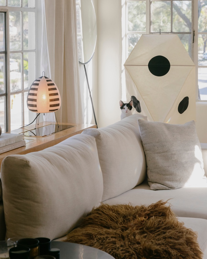 Noguchi lamps in playful shapes.