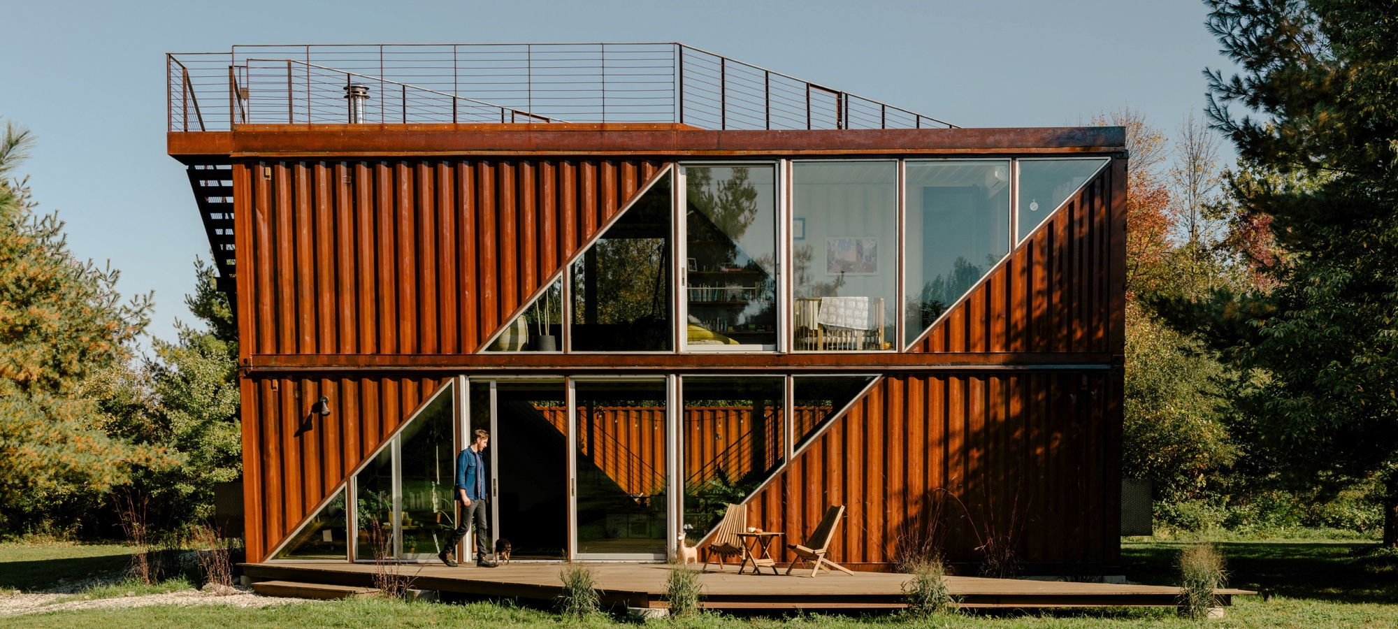 The upstate new york home is built sustainably from old shipping containers.