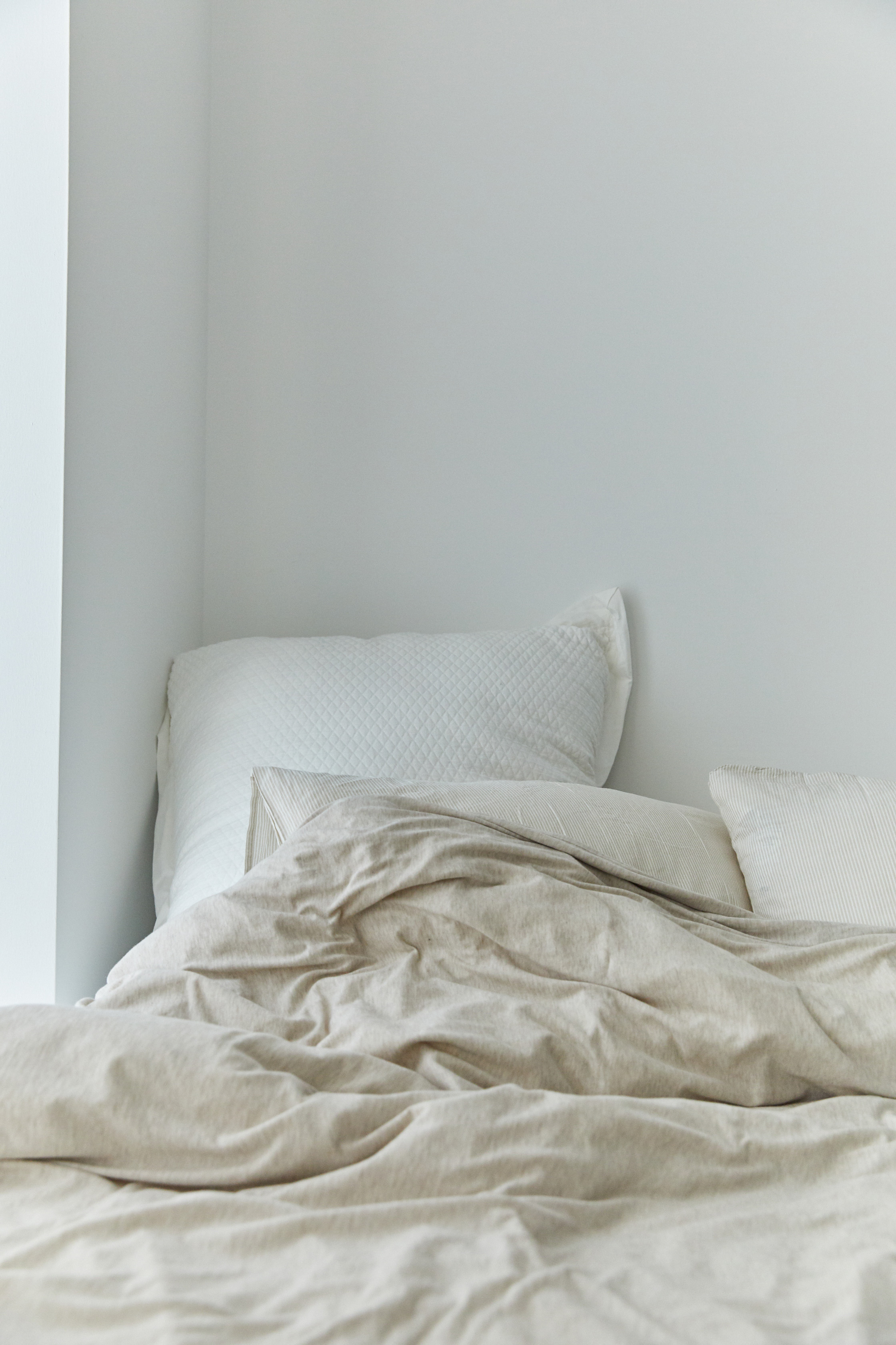 the bed in neutrals.