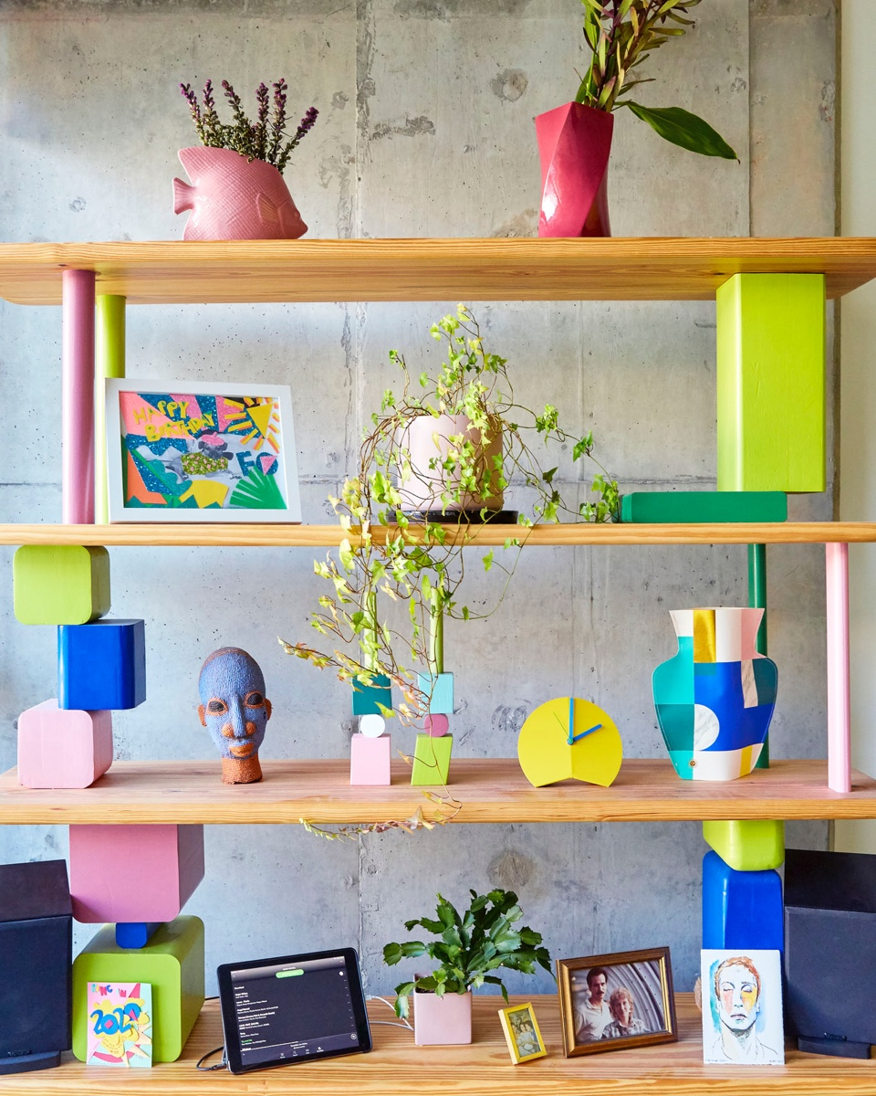 A Memphis-influenced etagere houses a small portion of Michelle's plant collection.