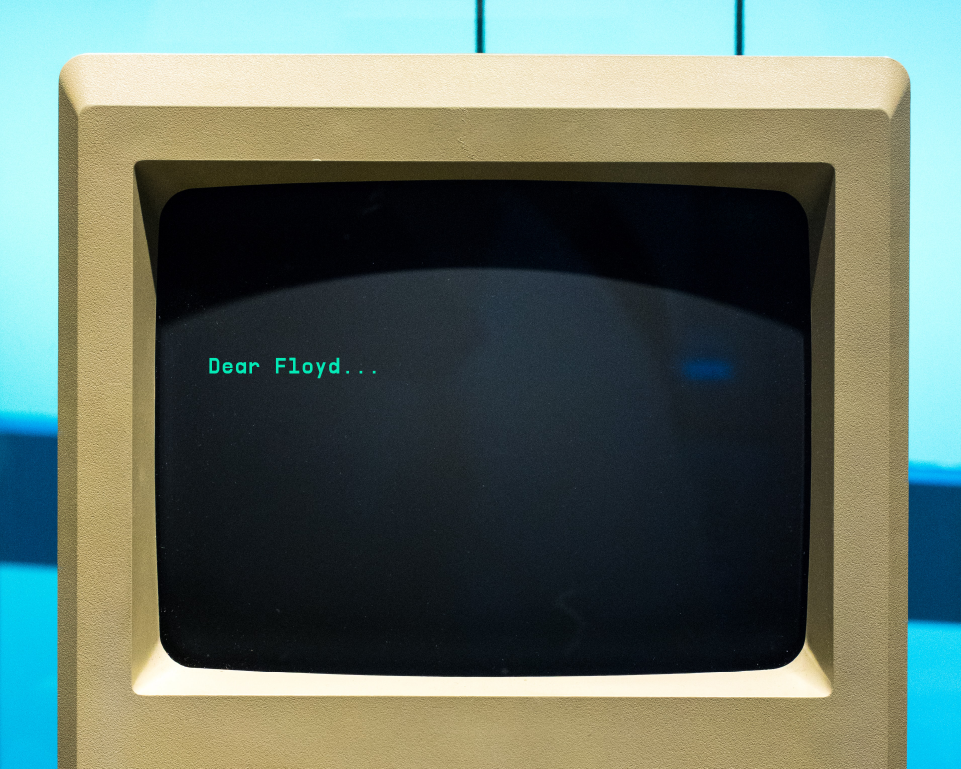 "computer screen with ""Dear Floyd"" Q&A written on the screen"